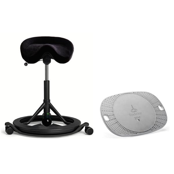Bilde av Backapp Smart Black Grey, ALCANTARA, Anthracite, Black ball + Wheels + 360 Balansebrett