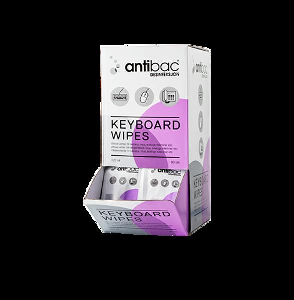 Bilde av Antibac Keyboard Wipes 75 % - enk. pk esk a 80 stk.